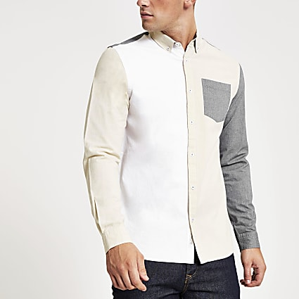 Grey colour block slim fit Oxford shirt