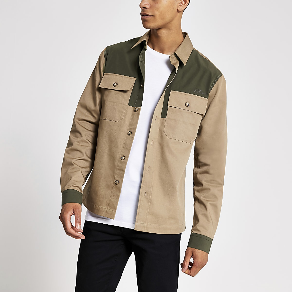 Stone colour block pocket front shirt