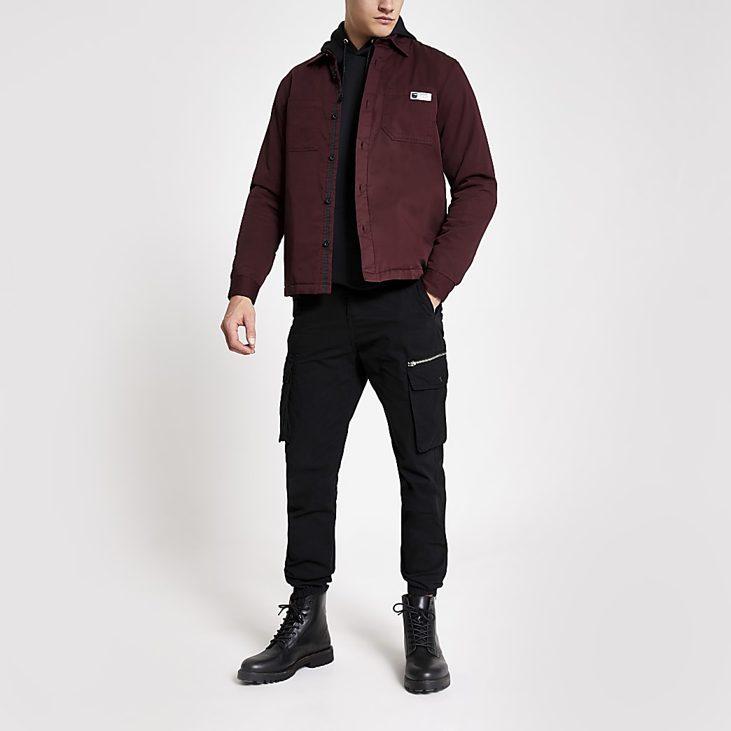 Dark red quilted overshirt