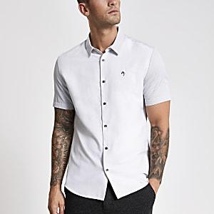 MaisonRiviera- Wit slim-fit T-shirt met kleurvlakken