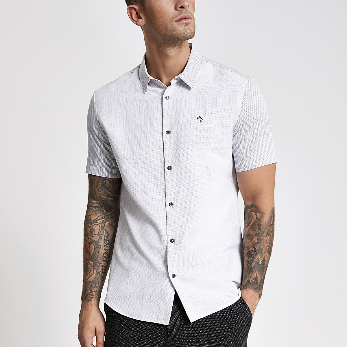 White slim fit blocked Maison Riviera shirt