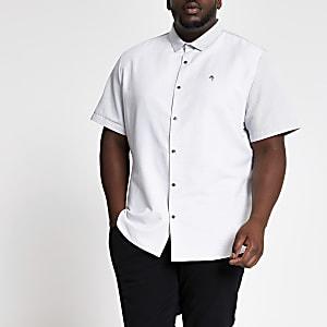 Big & Tall – Weißes, kurzärmeliges Hemd in Blockfarben