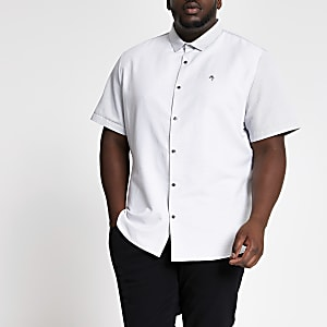 Big and Tall - Chemise blanche colour block à manches courtes