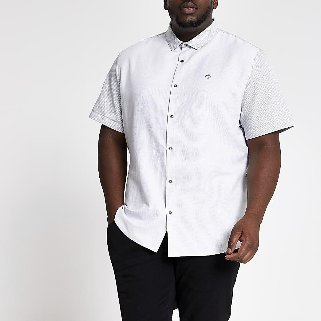 Big and Tall- Chemise blanche colourblockà manches courtes