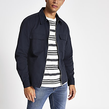 Navy Maison Riviera long sleeve overshirt