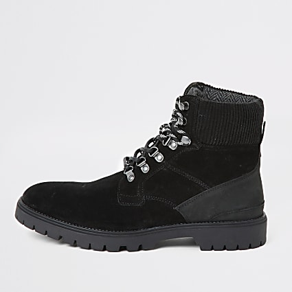 Black suede lace-up hiking boots