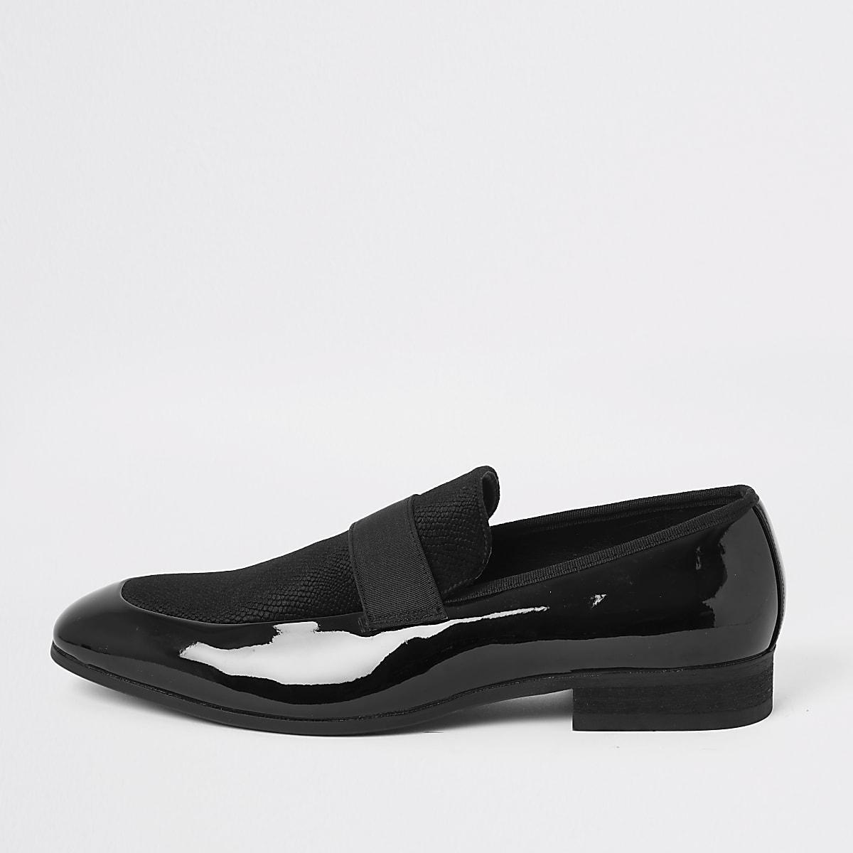 Zwarte lakleren en fluwelen loafers