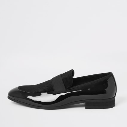 Black patent and velvet loafers