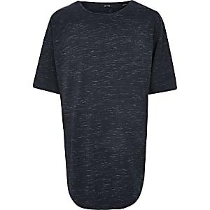 Only & Sons – Big and Tall – T-shirt imprimé bleu marine