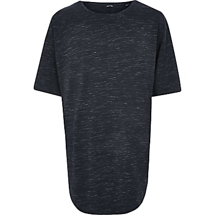 Only & Sons Big and Tall navy print T-shirt