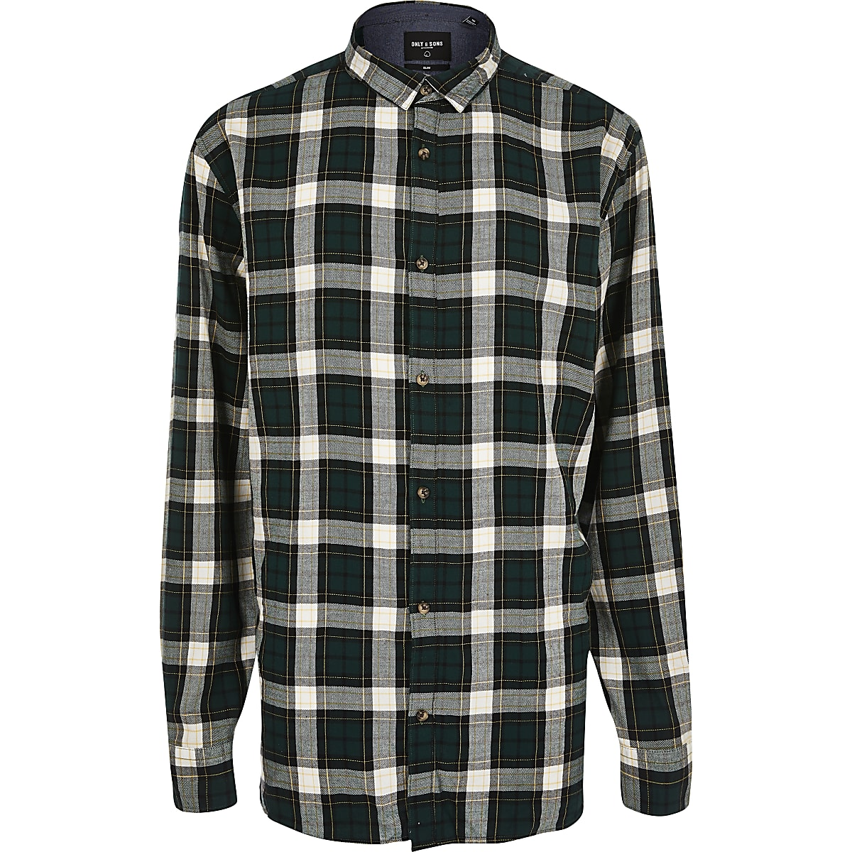 Only & Sons Big and Tall green check shirt
