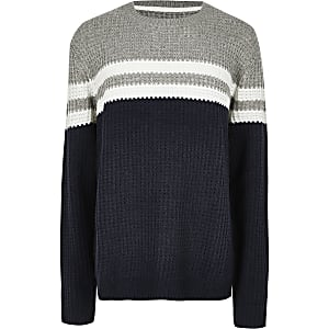 Big and Tall Only & Sons– Marineblau gestreifter Pullover