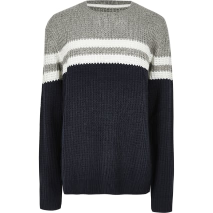 Big and Tall Only & Sons navy stripe jumper