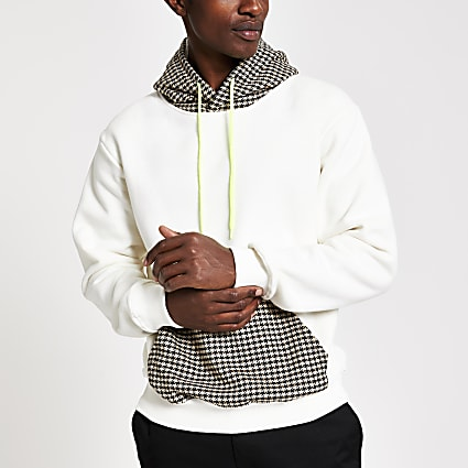 Criminal Damage white check panel hoodie