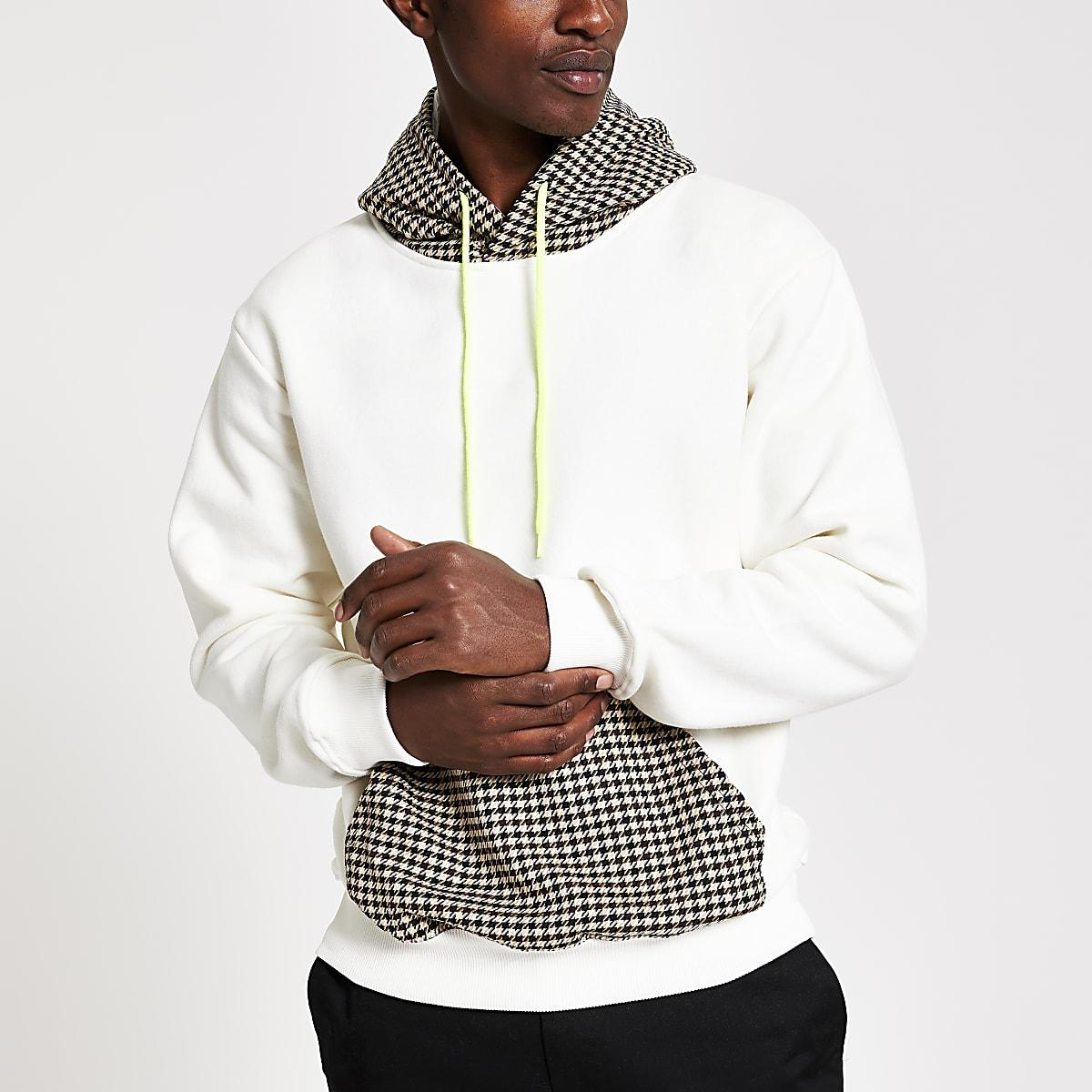 Criminal Damage white check panel hoodie