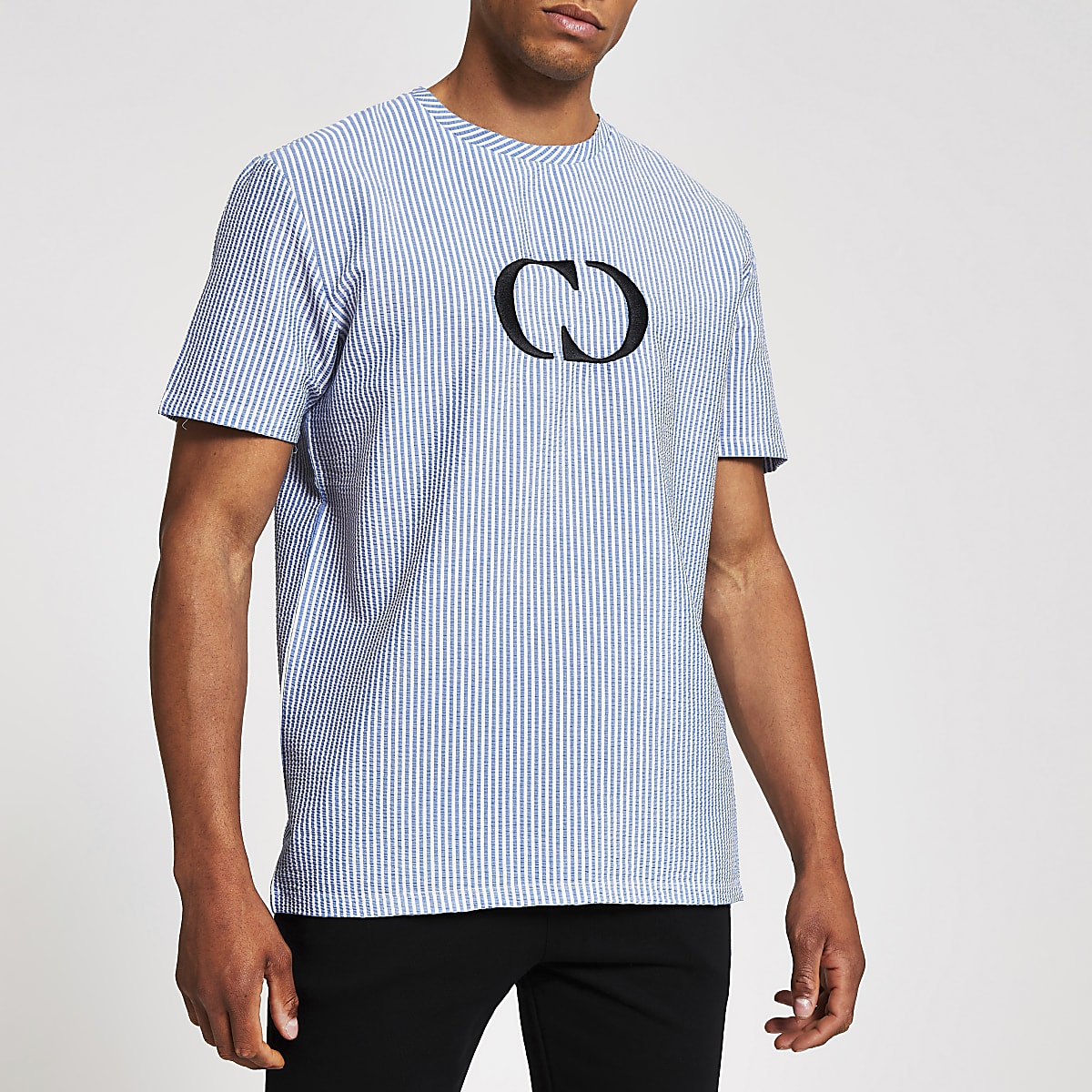 Criminal Damage blue chest logo T-shirt