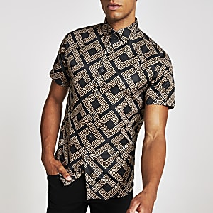 Criminal Damage brown print shirt