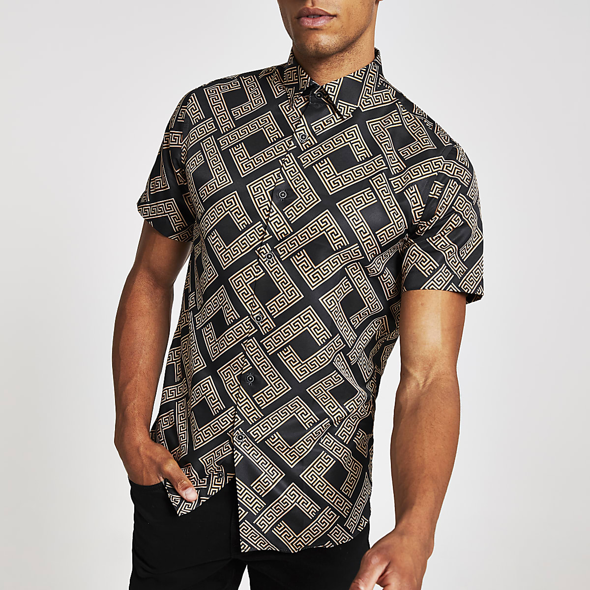 Criminal Damage brown short sleeve shirt
