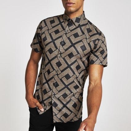 Criminal Damage brown short sleeve shirt