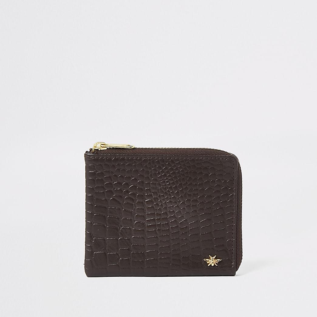 Bruine leren portemonnee met wesp, krokodillenprint, reliëf en rits