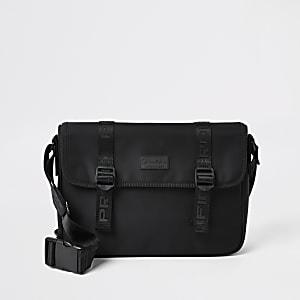 Zwarte satcheltas met overslag met Prolific-print