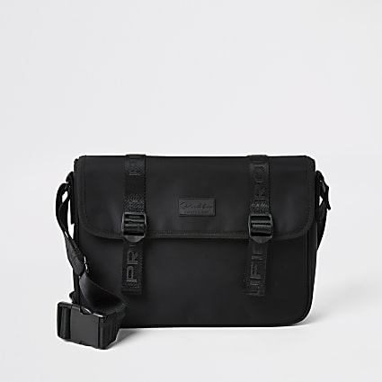 Prolific black tape flapover satchel bag