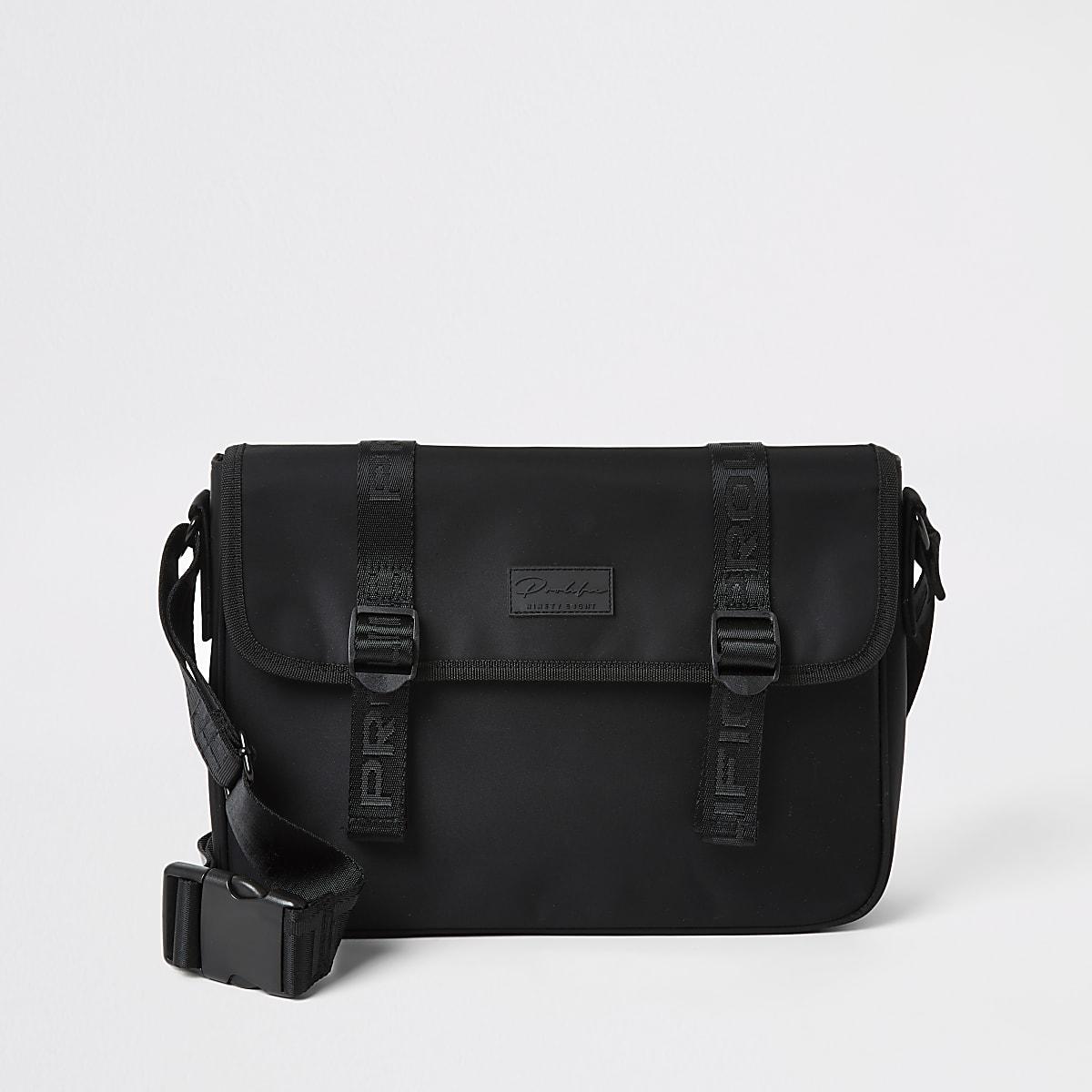 Black Prolific tape flapover satchel bag