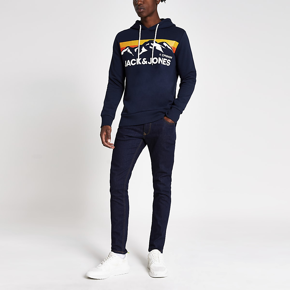 Jack and Jones navy mountain print hoodie