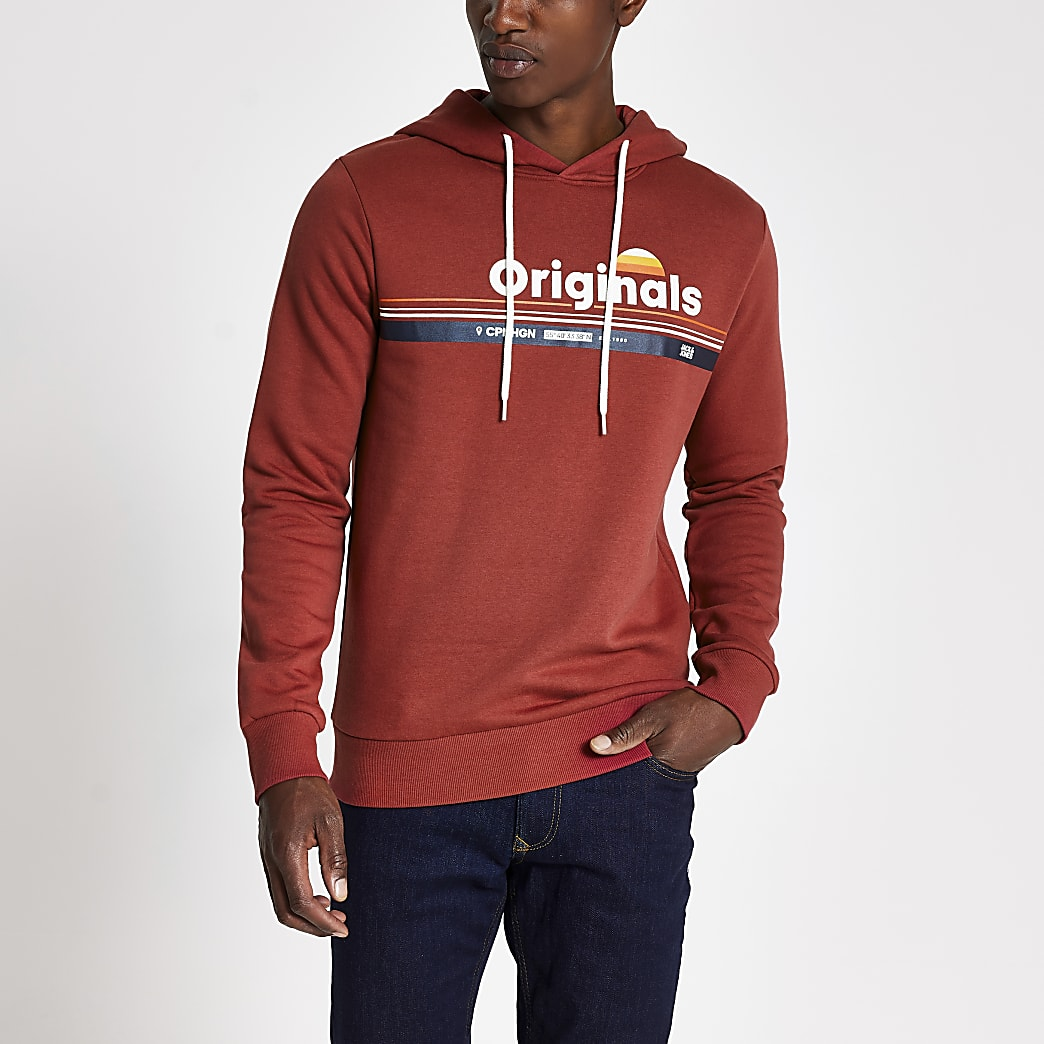 Jack and Jones red 'Originals' hoodie