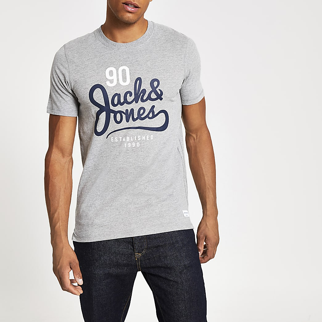 Jack and Jones – T-shirt imprimé gris