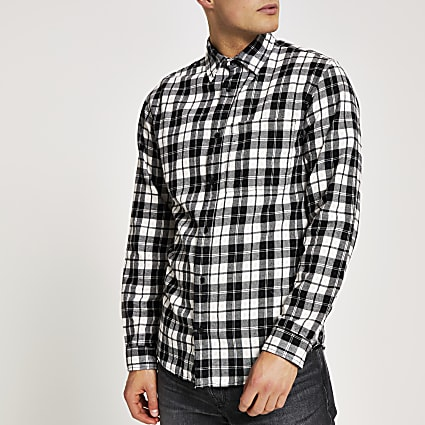 Jack and Jones white check long sleeve shirt