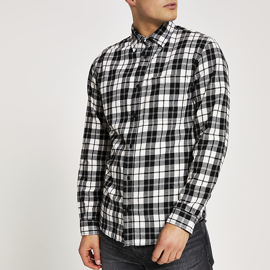 Jack and Jones - Wit geruit overhemd met lange mouwen