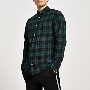 Jack and Jones – Langärmliges Hemd mit grünem Karomuster