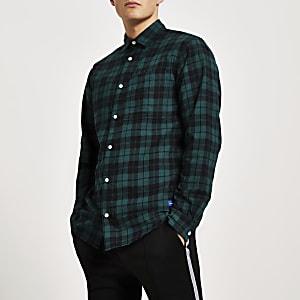 Jack and Jones - Groen geruit overhemd met lange mouwen