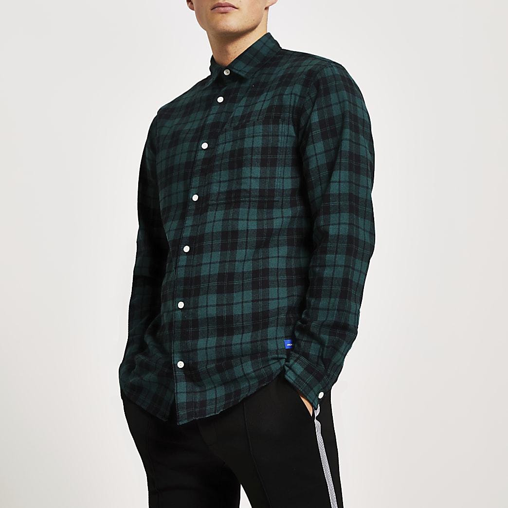 Jack and Jones green check long sleeve shirt