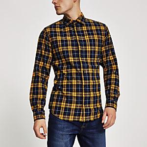 Jack & Jones – Chemise manches longues à carreaux jaune