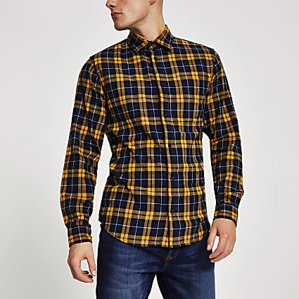 Jack and Jones yellow check long sleeve shirt