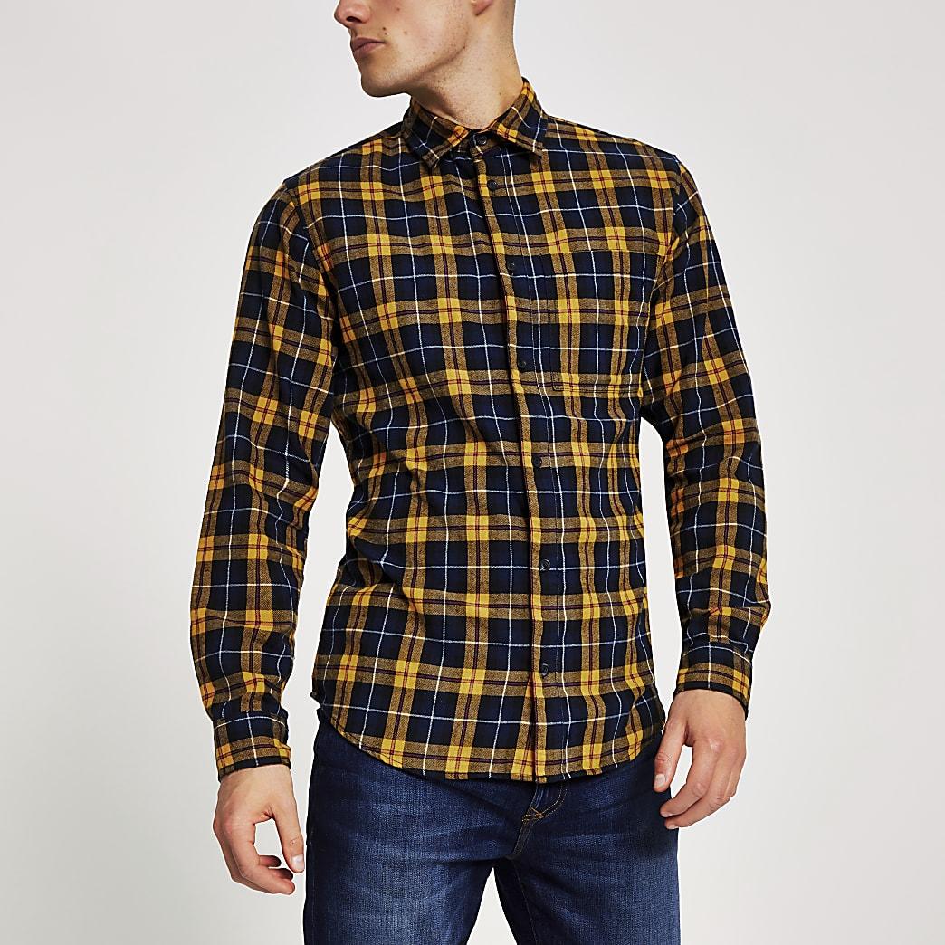 Jack and Jones yellow check long sleeve shirt