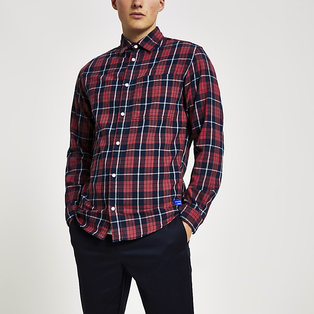 Jack and Jones - Rood geruit overhemd met lange mouwen