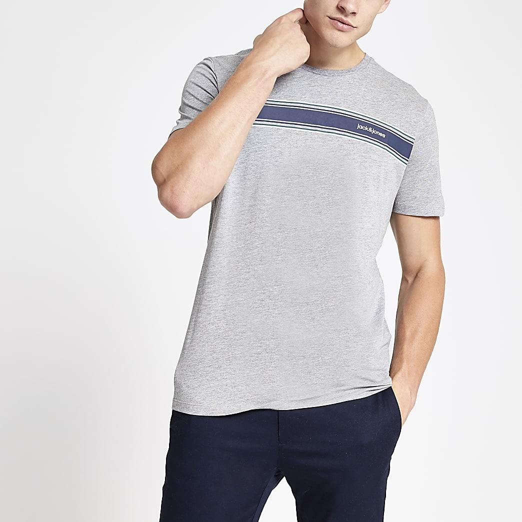 Jack and Jones – T-shirt gris avec logo sur la poitrine