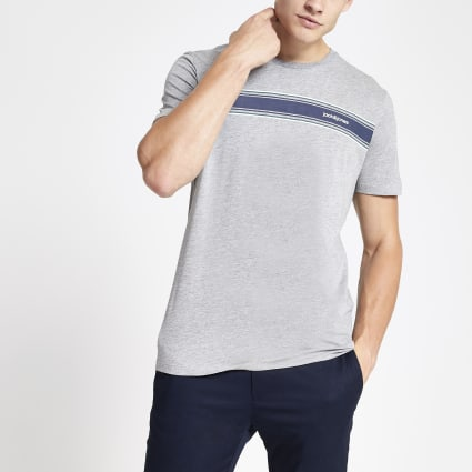 Jack and Jones grey chest logo T-shirt