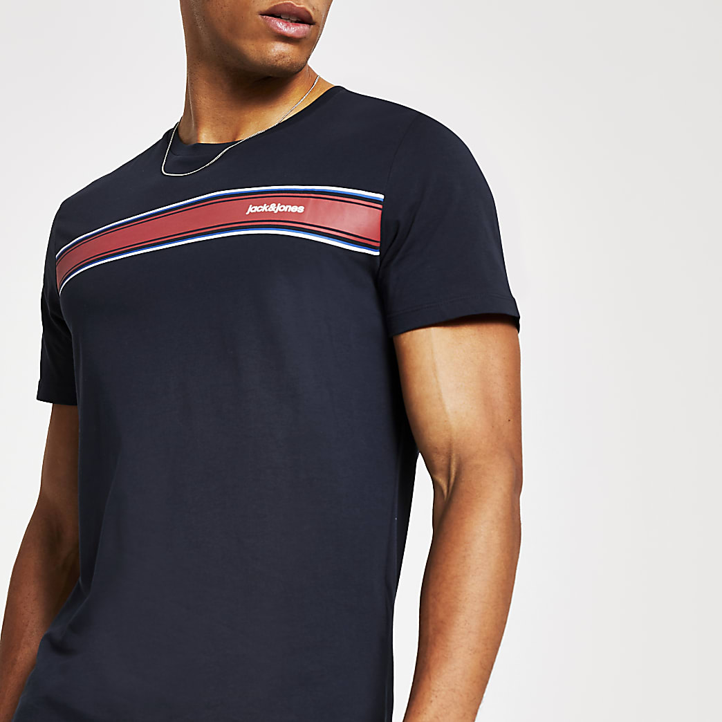 Jack and Jones navy logo stripe T-shirt