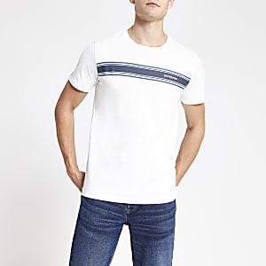 Jack and Jones – T-shirt blanc avec logo sur la poitrine