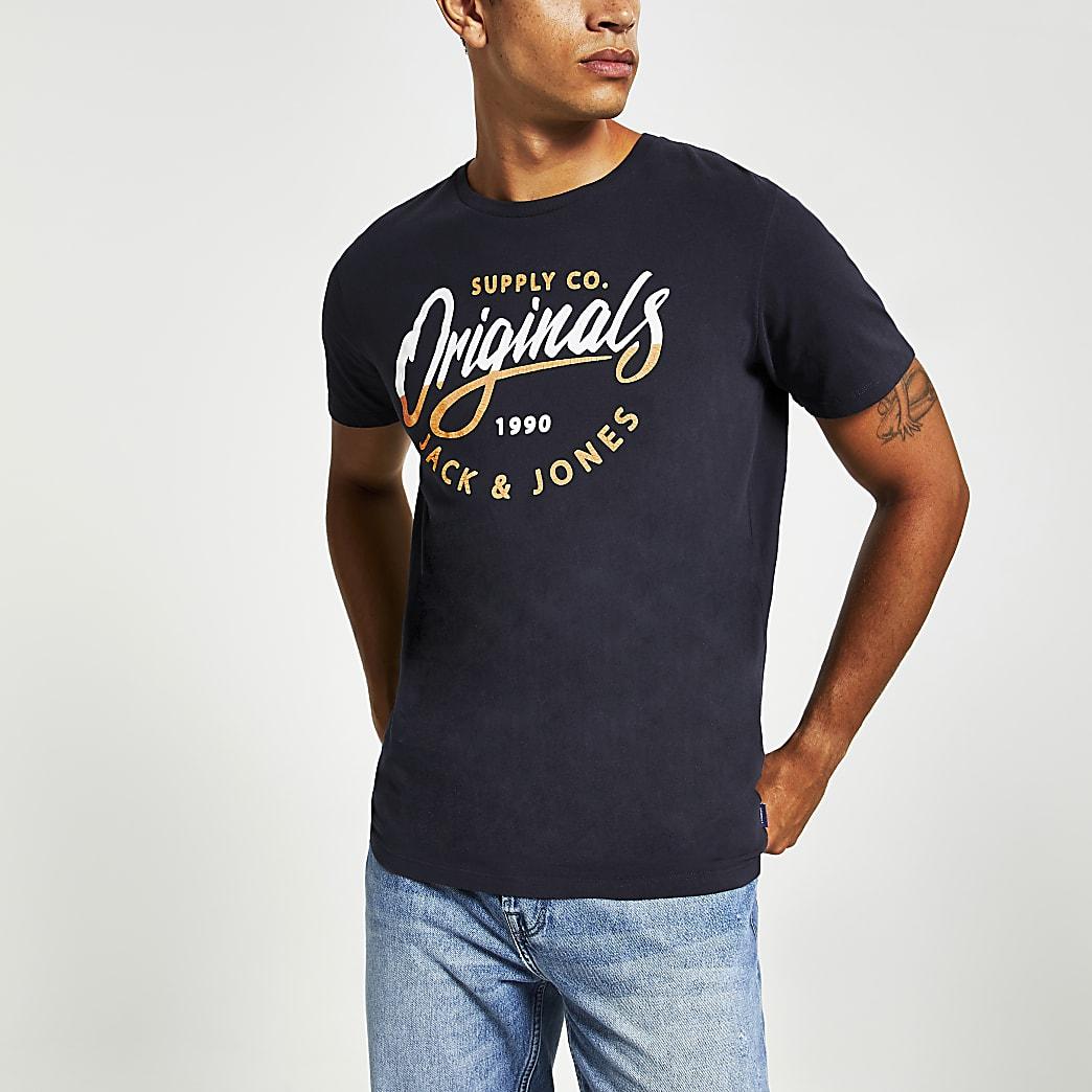 Jack and Jones - T-Shirt in Marineblau mit aufgedrucktem Logo auf der Brust