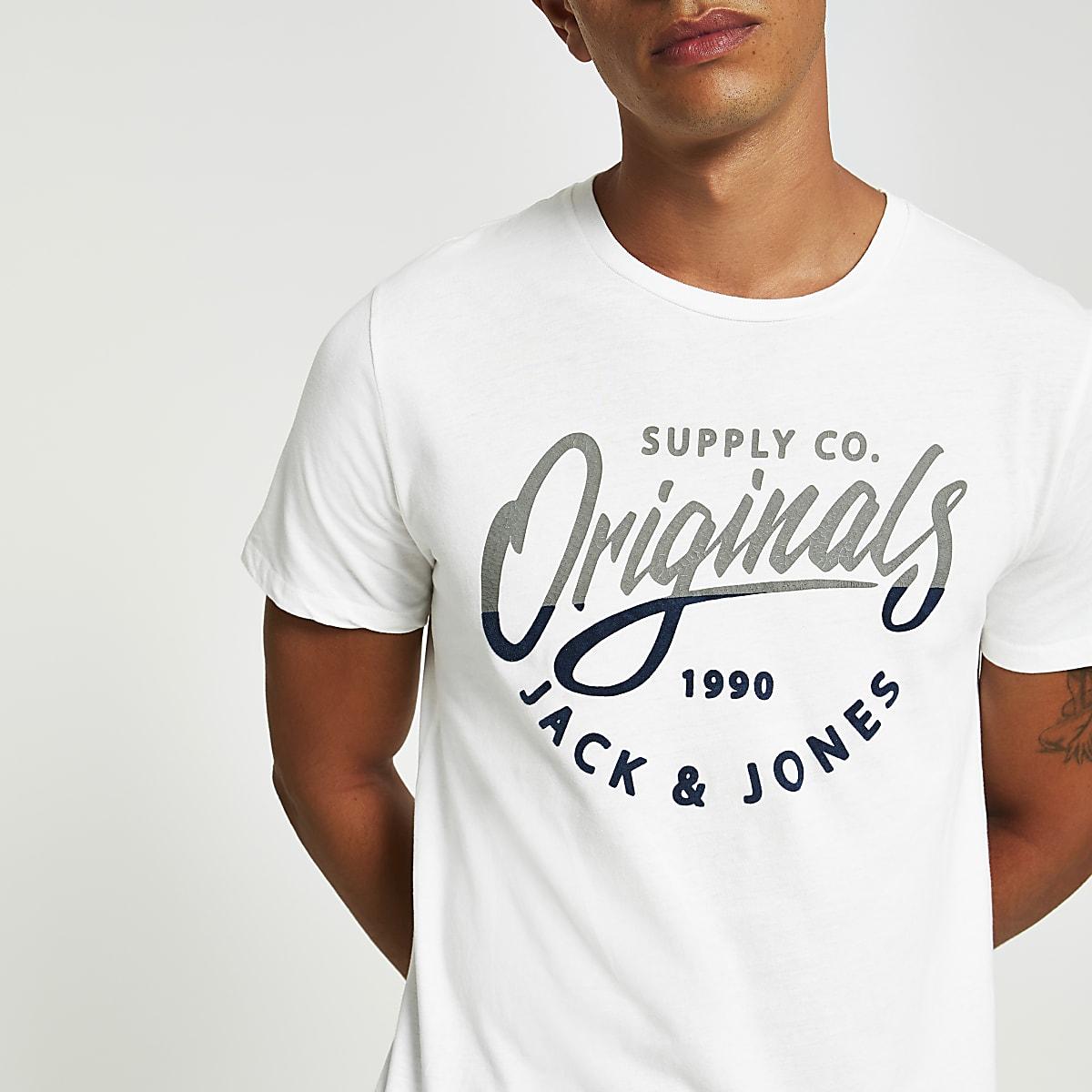 Jack and Jones white chest logo T-shirt