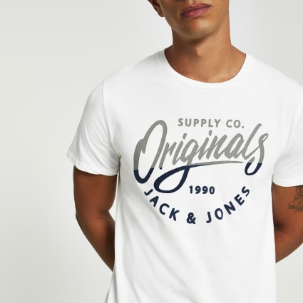 Jack and Jones white chest logo T-shirt