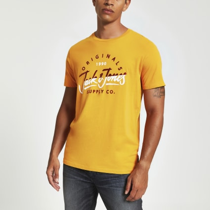 Jack and Jones yellow chest logo T-shirt