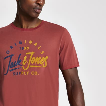 Jack and Jones red logo print T-shirt