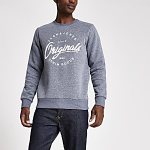 Jack and Jones grey logo print sweatshirt