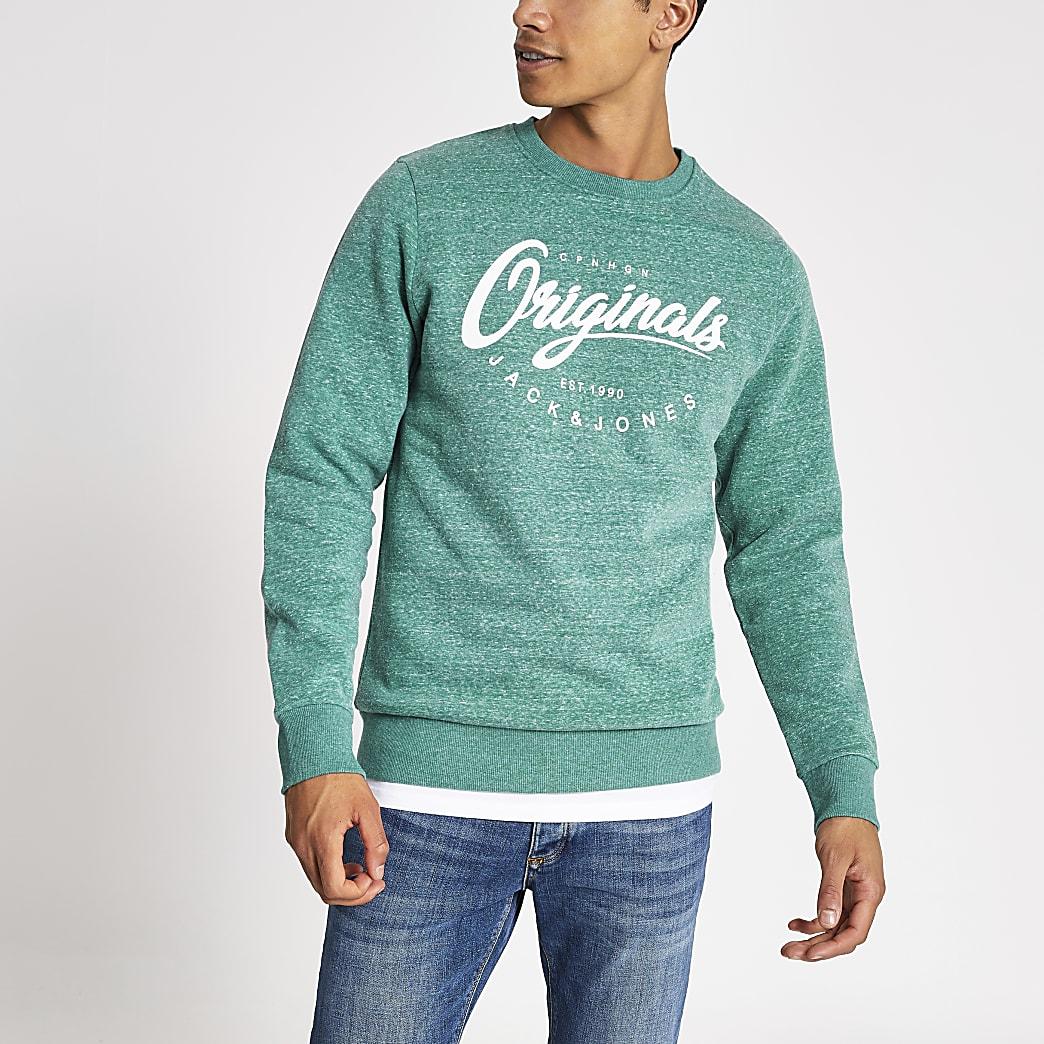 Jack and Jones green printed sweatshirt